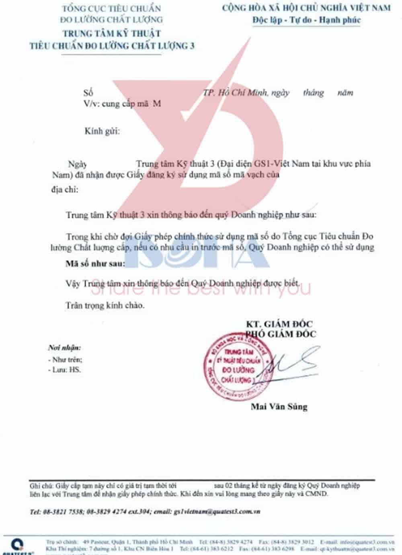 Mẫu giấy chứng nhận msmv tạm thời