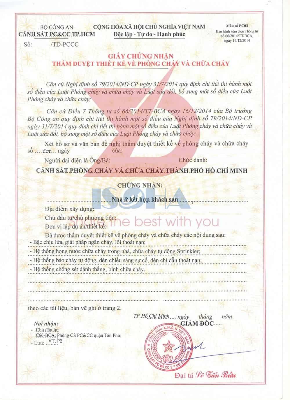Mẫu giấy chứng nhận thẩm duyệt phòng cháy chữa cháy