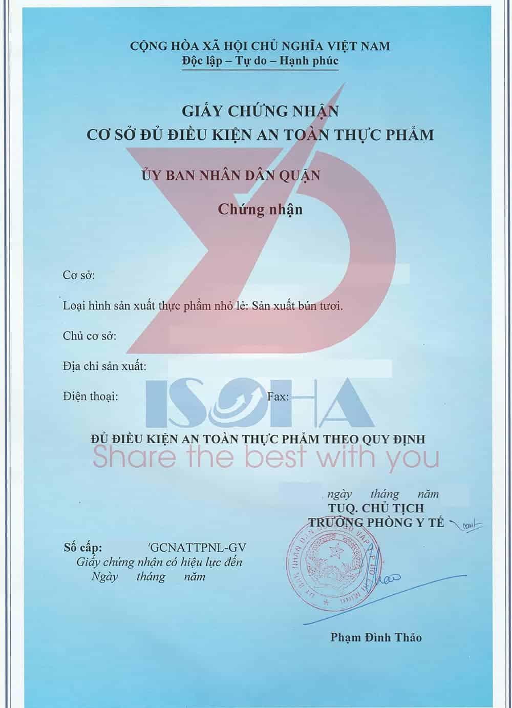 Mẫu giấy chứng nhận vệ sinh hộ kinh doanh sản xuất bún